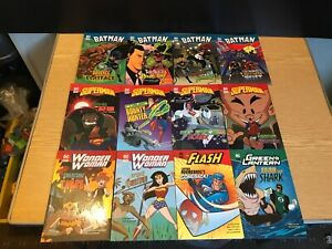 12 x DC Comics Superheroes Illustrated Large Print Reading Books by Raintree