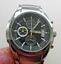 GENTS STAINLESS STEEL CASIO EDIFICE EF-512D (2328) BLACK/GREY CHRONOGRAPH WATCH