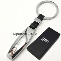 Audi chrome metal keychain key ring keyring brand new with gift box
