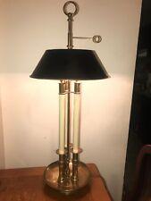 "Vintage Chapman Brass 3-candlestick Bouillotte  Table Desk Lamp ,Tole Shade 31"""