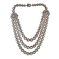 Polki Diamond Wedding Necklace Set Jewelry Uncut Rose Cut Diamond 25.50ct Silver
