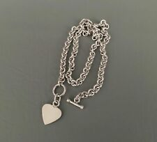 STERLING SILVER .925 Heart Charm Toggle Solid Sterling Silver Link Necklace 15in