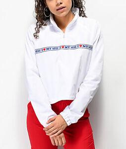 I LOVE MY VANS half zip top jacket jumper size 8 small windbreaker HEART ❣