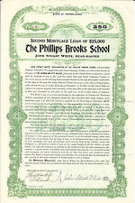 1907 PENNSYLVANIA The Phillips Brooks School Bond Stock Certificate Philadelphi