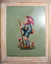 Needlepoint finished framed Character Hummel boy 10 x 12