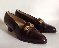 9d3b8e0e298 Bally Sian Vintage 1980s Brown Leather Almond Toe Block Heel Loafer Shoe UK  5.5