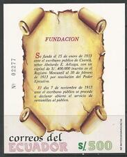 stamps-ecuador. 1989. Fondation azuay BANQUE MINIATURE feuille Sg:ms2042.