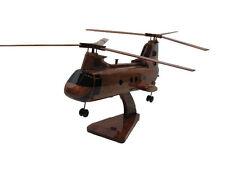 CH-46 Sea Knight Frog Navy Marine USMC Mahogany Wood Wooden Helicopter Model New