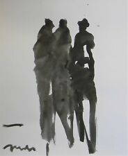JOSE TRUJILLO - NEW Black INK WASH on Paper Collectible 14x17 Shadow Figures