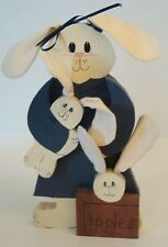 Bunny Mommy with her 2 babies - Handmade Wood & Cloth - 10 1/2 in. tall  Country