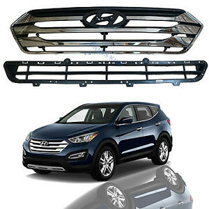 For 2013 2016 Hyundai Santa Fe Sport Front Upper & Lower Bumper Grille Grill Set