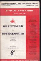 1961/62 BRENTFORD V BOURNEMOUTH 18-11-1961 Division 3