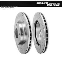 AutoShack PR41465LR Pair of 2 Front Driver and Passenger Side Drilled and Slotted Disc Brake Rotors Replacement for 2009 2010 2011 2012 2013 2014 Nissan Cube 2007 2008 2009-2012 Versa Sentra