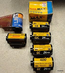7 unused rolls of  35mm film Kodak MAX 400 Kodak Process C-41 Kodak Gold 200 +