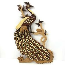 Peacock Wood Carved Wall Hanging Marquetry Art Hand Made Artist Signed