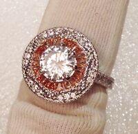 Dolly-Bijoux Bague Rhodié T54 Arabesque Emeraude Pavé Diamant Cz Argent 925