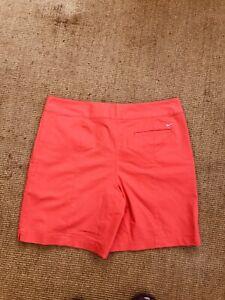 Ladies Nike Golf Shorts - UK 16 flat front orange logo dri-fit cotton blend