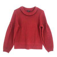 Club Monaco 100% Merino Wool Boxy Sweater Womens M Red Crew Neck Balloon Sleeve