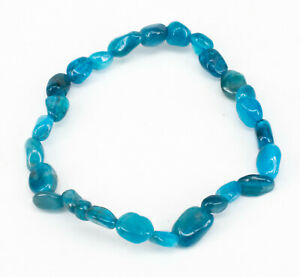 Apatit blau Nuggetarmband Edelstein Nugget Armband elastisch 19cm Blauer Apatit