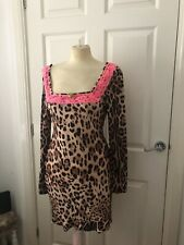 Leopard Print Ruffle Hem Dress With Neon Pink Trim Size 14