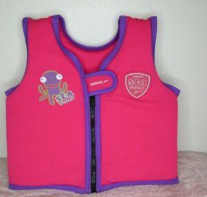 Speedo Sea Squad Zip Up Pink Float Bouyancy Swim Vest Age 1-2 Yrs 0-15 kgs
