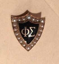 Vintage Phi Sigma 14K Seed Pearl Sorority Shield Shape Pin.