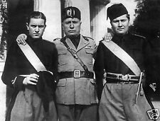 Fascist Benito Mussolini And Sons Il Duce Italy World War 2, Reprint Photo 7x5""