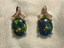 Opal Earrings 14ct White Gold & Diamond Stud.Triplet Opals 10 x 8mm Oval. #60507