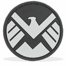 3D PVC Marvel Shield Logo Tactical Airsoft Fancy Dress Morale Patch Black Grey