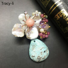 Beautiful Crystal Freshwater pearl Natural Turquoise Pendant necklace/Brooch pin