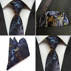 US123 Men Blue Black Yellow Floral Tie Necktie Pocket Square Handkerchief Set