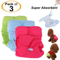 3Pack Reusable Washable Dog Diapers - Super Absorbent & Leak Proof for Dogs