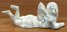 "Cast Iron Antique White Angel Statue Sculpture Figurine Decor 7.5x3x2.5"""