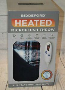 BIDDEFORD Electric Heated  Micro Plush Throw Blue