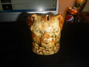 Early Vintage/Antique Roseville Pottery Yellow Spongeware Dog Head Coin Bank