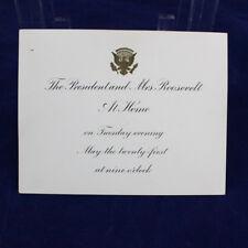 "Historical Memorabilia of President FDR May 21, 1940 Invitation, ""At Home"""