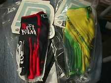 LOT 2 PAIRS DEFT FAMILY GLOVES BLACK - WHITE, RED, YELLOW/GREEN MEDIUM adult ATV