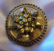 """Vintage Western Germany Gold Tone Mother of Pearl Flower Round Scarf Clip 1.5"""""""