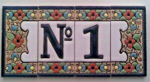 Spanish Hand Painted Number & Letter Ceramic Tiles 3''x1.5'' Frames Dog Cat Sun