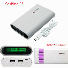Soshine E3 4 Slot 18650 Battery Charger LCD Box&Power Bank For iPhone Samsung LG