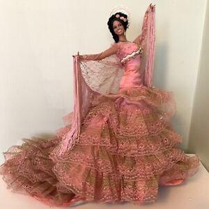 "Large 18"" PINK Vintage 1960s Spanish Flamenco Dancer Doll Dress marin chiclana"