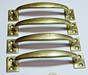 SET X 4 ART DECO ANTIQUE BRASS BOW PULL CHEST DRAWERS DESK SASH DOOR HANDLES