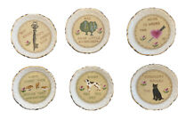 Rare Vintage Teabag Holders S/6 Plates 1940-1960s w/cute sayings and pictures