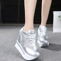 Women Wedge Hidden Heel Platform Sneaker Lace Up College Casual Shoes