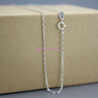 Fine 925 Sterling Silver Marina Chain All Inch Curb Trace Necklace Italy Lady UK