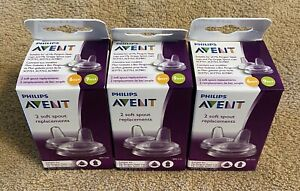 3 X Philips Avent Soft Silicone Replacement Spouts, 6M+/9m+ ~(6 Spouts Total)