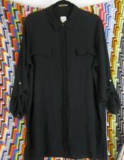 Chico's Top Shirt XL 3 Black Career Button Front 3/4 Sleeve Fake Pocket Blouse