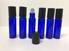 12 Stainless Steel Metal Roller Ball Cobalt Glass Bottles 10ml Blue New Bottle