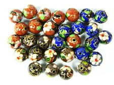 30 Pcs Handmade12mm Diam Smooth Round Floral Cloisonne Copper Enamel Loose Beads