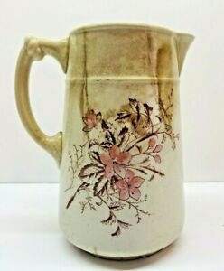 """Vintage Beige Warranted Ironstone China Pitcher With Flower Decor  7"""" Tall"""